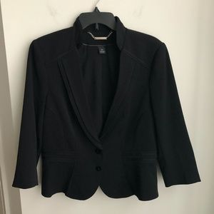 WHBM black blazer 12, 3/4 sleeve button